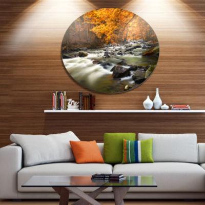 Designart Autumn Terrai With Trees and River Landscape Metal Circle Wall Art