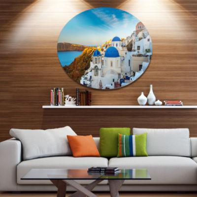 Designart Beautiful Santorin Houses Greece Large Cityscape Art Print on Metal Walls