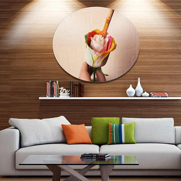 Designart Person Painting Beautiful Rose Large Floral Metal Circle Wall Art