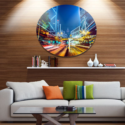 Designart Hong Kong City Night Scene Large Cityscape Art Print on Metal Walls