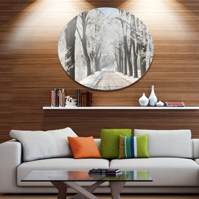 Designart Winter Lane in Countryside Large ForestMetal Circle Wall Art