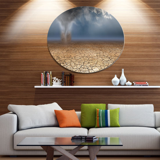 Designart Dust Devil in the Desert Landscape MetalCircle Wall Art