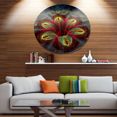 Designart Red Golden Colorful Fractal Design Floral Metal Circle Wall Art
