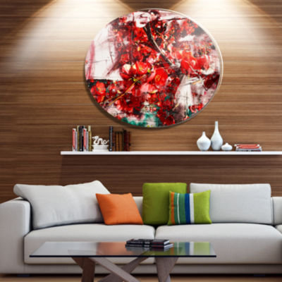 Designart Red Flowers Texture Watercolor Large Abstract Metal Artwork