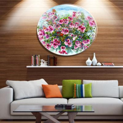 Designart Purple Flowers Watercolor Illustration Floral Metal Circle Wall Art