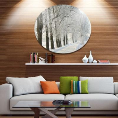 Designart Winter Rural Road at Sunrise Large Forest Metal Circle Wall Art