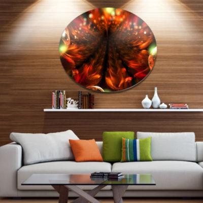 Designart Abstract Fractal Orange Flower Floral Metal Circle Wall Art