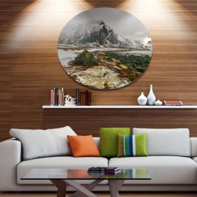 Designart Eggum Lofoten Islands Norway Landscape Metal Circle Wall Art