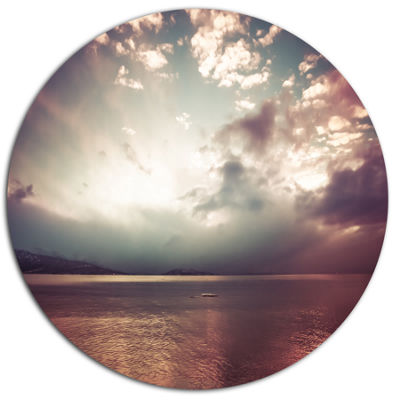 Designart Dark Sunset with Dramatic Sky Large Seashore Metal Circle Wall Art