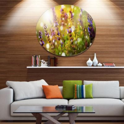 Designart Beautiful Purple Wild Flowers Large Floral Metal Circle Wall Art