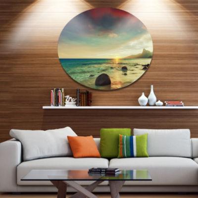 Designart Colorful Seashore with Rocky Beach LargeSeashore Metal Circle Wall Art