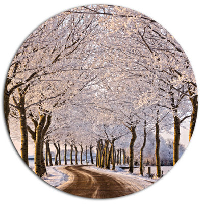 Designart Trees And Road in White Winter LandscapeMetal Circle Wall Art