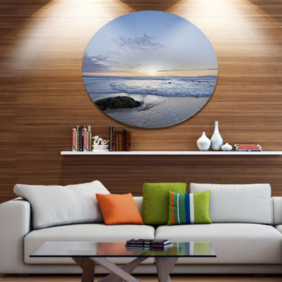 Designart Beautiful Rocky Seashore in Blue Large Seashore Metal Circle Wall Art