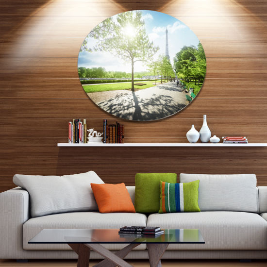 Designart Paris Eiffel Towerat Sunny Morning Landscape Metal Circle Wall Art