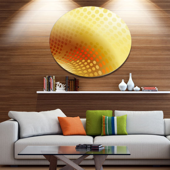 Designart Golden Fractal Abstract Pattern Large Abstract Metal Artwork