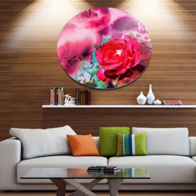 Designart Red Rose on Abstract Paper Floral MetalCircle Wall Art