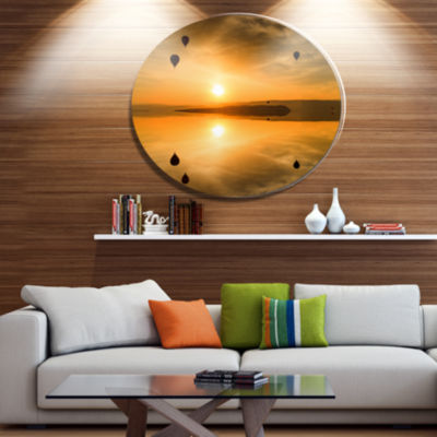 Designart Flying Balloons and Reflection Large Seashore Metal Circle Wall Art