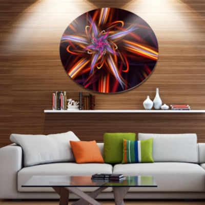 Designart Red Purple Colorful Fractal Design Floral Metal Circle Wall Art