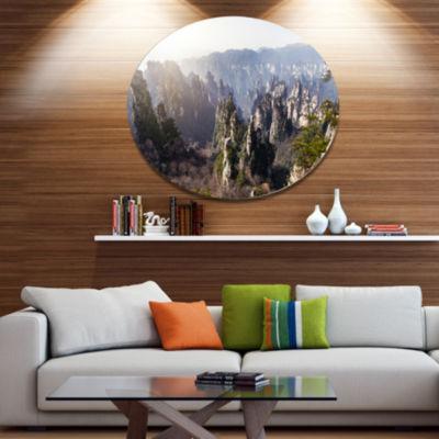 Designart Zhangjiajie National Forest Park Landscape Metal Circle Wall Art