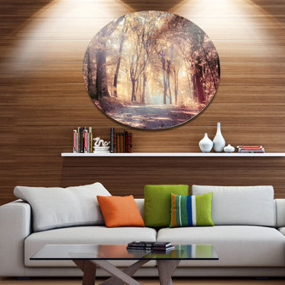 Designart Golden Autumn Beautiful Forest LandscapeMetal Circle Wall Art