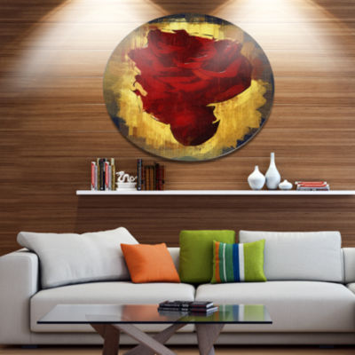 Designart Vintage Background With Red Flower LargeFloral Metal Circle Wall Art