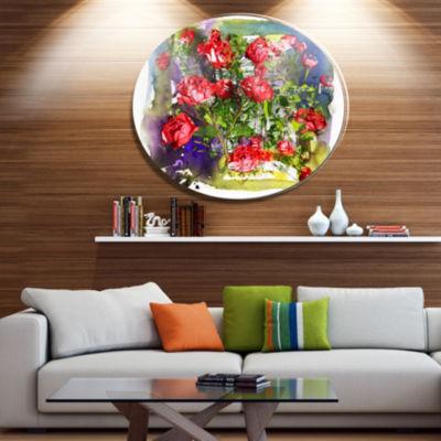 Designart Red Roses Bunch Watercolor Floral MetalCircle Wall Art