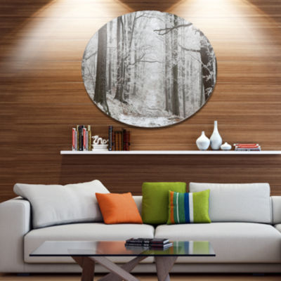 Designart Forest Trail on Winter Morning Large Forest Metal Circle Wall Art