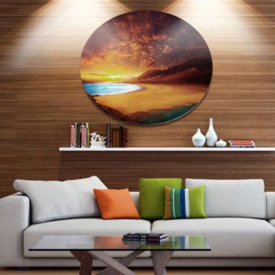 Designart Cofete Beach Fuerteventura Landscape Metal Circle Wall Art