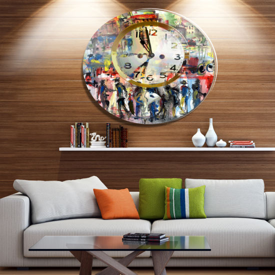 Designart People and Time Acrylic Watercolor LargeAbstract Metal Artwork