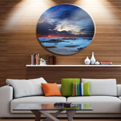 Designart Colorful Traditional Asian Boats Landscape Metal Circle Wall Art