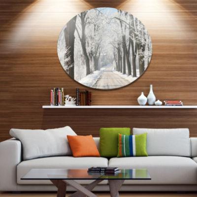 Designart Winter Lane in Countryside Large ForestMetal Circle Wall Art