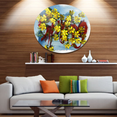 Designart Lettering and Yellow Spring Flowers Floral Metal Circle Wall Art