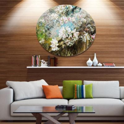 Designart Apple Blossoms With White Flowers FloralMetal Circle Wall Art