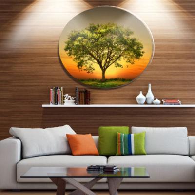 Designart Green Tree against Setting Sun Trees Metal Circle Wall Art