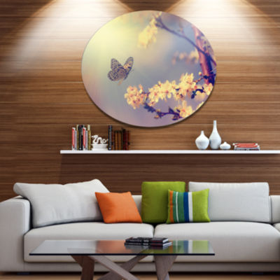 Designart Vintage Butterfly and Cherry Tree LargeFloral Metal Circle Wall Art