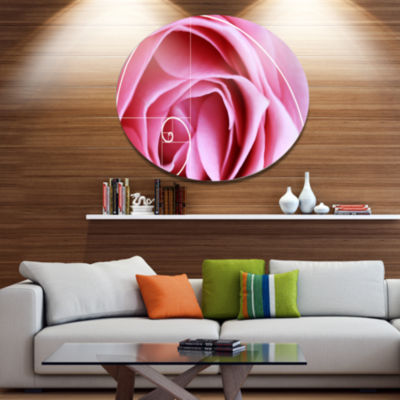 Designart Pink Flower with Spiral Arrangement Floral Metal Circle Wall Art