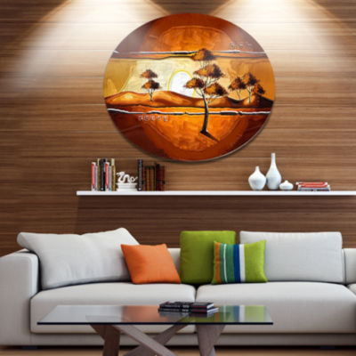 Designart African Motive Art Watercolor LandscapeMetal Circle Wall Art