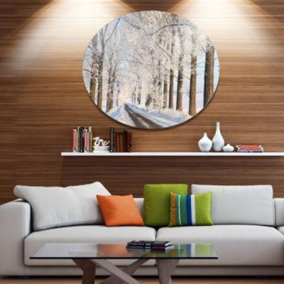 Designart Beautiful Winter Lane at Morning Large Forest Metal Circle Wall Art