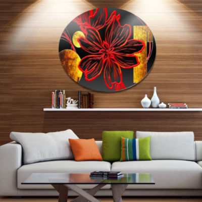 Designart Abstract Red Flower Painting Large Floral Metal Circle Wall Art