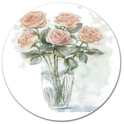 Designart Pink Roses Bunch in the Vase Large Floral Metal Circle Wall Art
