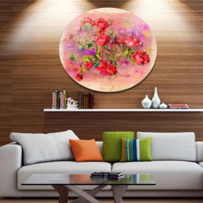 Designart Roses Pastel Chalk Illustration Floral Metal Circle Wall Art