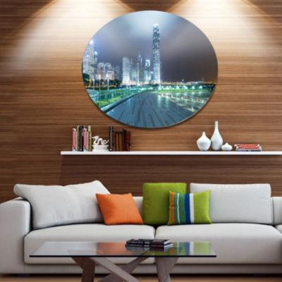 Designart Night Pathway in City Large Cityscape Art Print on Metal Walls
