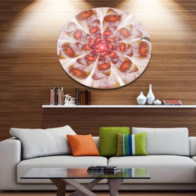 Designart White Brown Fractal Flower Floral MetalCircle Wall Art