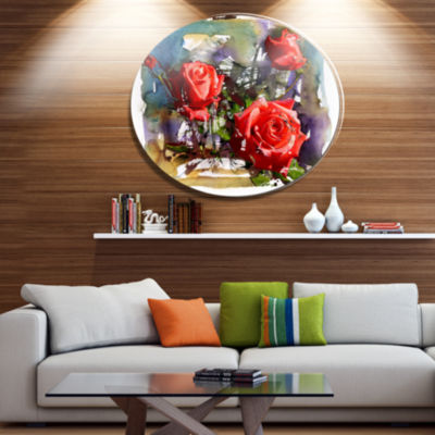 Designart Large Red Roses Composition Floral MetalCircle Wall Art