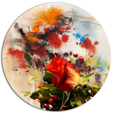 Designart Roses and Sunny Day Watercolor Floral Metal Circle Wall Art