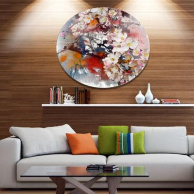 Designart Blossoming Apple Tree Background FloralMetal Circle Wall Art