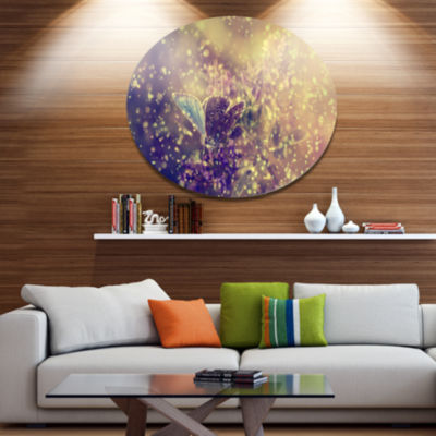 Designart Blue Butterfly And Purple Flowers LargeFloral Metal Circle Wall Art