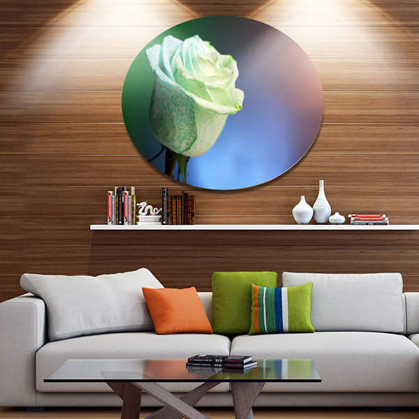 Designart Beautiful White Painted Rose Large Floral Metal Circle Wall Art