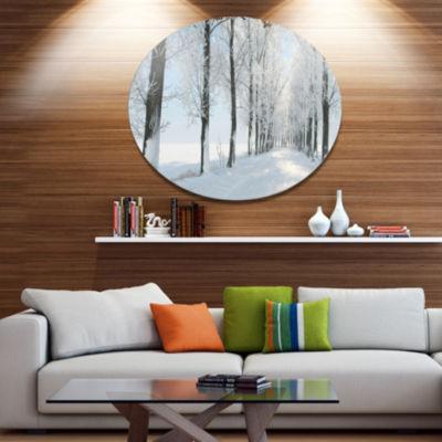 Designart Beautiful Winter Forest Lane Photo LargeForest Metal Circle Wall Art