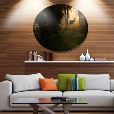 Designart Deer In Sunset In Deep Forest Large Forest Metal Circle Wall Art